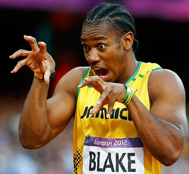 Yohan Blake tries to spook his competitors before the men's 200-meter semifinal. (Kai Pfaffenbach/Reuters) GALLERY: Did You See That? | Memorable Moments of London Olympics