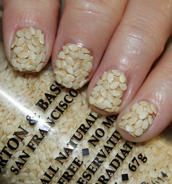Fall Trend Alert:  The Sesame Seed Nail Velvet Manicure not quite edgy enough for you?  Like your nails a little more spicy (or dirty)?  Try the Salt and Pepper nail, the Potting Soil Nail, or the Jack's BBQ Rub nail. Check out the whole funny (and obviously tongue-in-cheek) post over at Vampy Varnish. Well played.  I almost believed, and was totally grossed out, for a hot second. —Cara