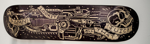go and pick up the skateboard i drew for RAW MEAT's LOADING show in london, there is only one and it even has glow in the dark grip tape!http://rawmeat.bigcartel.com/product/active-reload-by-craig-robson