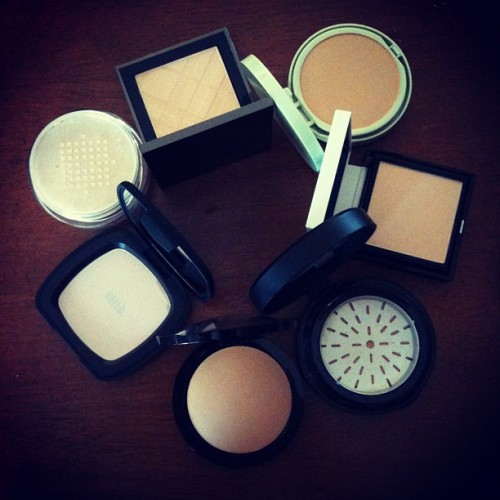 "Our ""Powder Room"" review has commenced! Recognize any of these powders? (Taken with Instagram)"