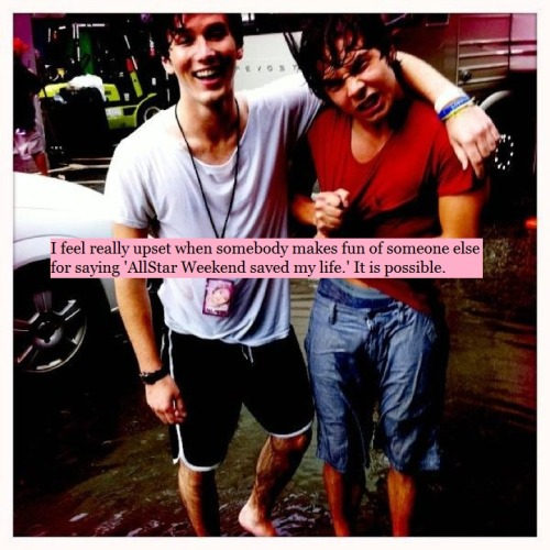 "allstarweekendconfessions:  I feel really upset when somebody makes fun of someone else for saying 'AllStar Weekend saved my life.' It is possible. I self harm, and I have no intention of stopping, but it's AllStar Weekend, just thinking of them, it stops me from going too deep. In their music, actions and words, I find hope. AllStar Weekend DID save my life and still do everyday.  THISSSSS While Allstar Weekend hasn't done that for me, other bands have and it's insulting when people make fun of me for it saying ""a band can't save your life"" Yes they can. These people have gotten me through depression and stopped me from killing myself. Their music calms me down and watching their videos can put a smile on my face during my worst days. Some people can't understand the impact music can make on someone's life. I'd be lost, probably dead, without it."