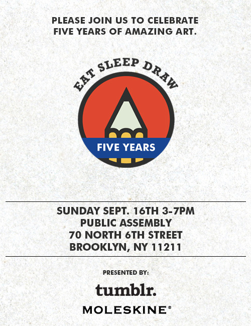 Attn NYC artists: Eat Sleep Draw is celebrating 5 years with a show and drawing booths. Click thru for info.