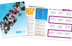 I have redesigned the FANfare, the newsletter of BBYO's Friends and Alumni Network, to fit with BBYO's new brand. Here is the cover and an inside spread.