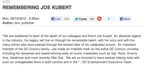 indel:  thebirdandthebat:  DC's Joe Kubert remembrance before & after the public outcry.  DC, the company, sucks.    Remember when DC knew what it was doing, and not just stabbing around in the dark for a fucking clue?