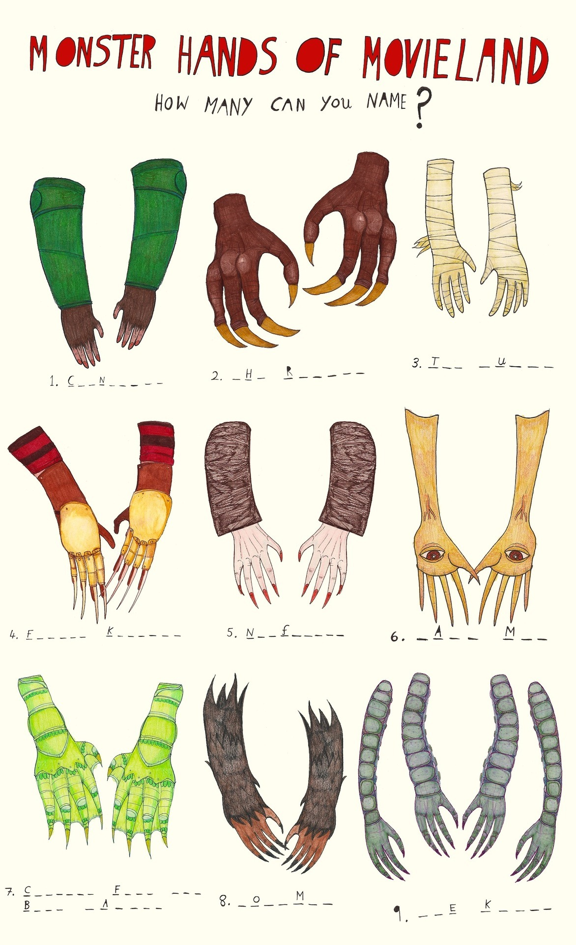 MONSTER HANDS OF MOVIELAND! How many characters can you name?  (answers tomorrow) x Also on www.creaturemag.com today :) p.s. see if you can spot some 'diliberate' mistakes too :)