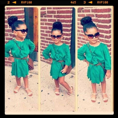 hipsandhoops:  iamladyycee:  My daughter (Taken with Instagram)  Stylin on all your babies, babies, babies  This baby is more fashionable than I am.