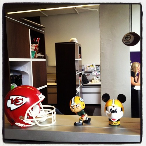 It's football season! A battle raging at the #GoComics offices is #Chiefs vs. #Packers fans. (Taken with Instagram at GoComics.com World Headquarters)