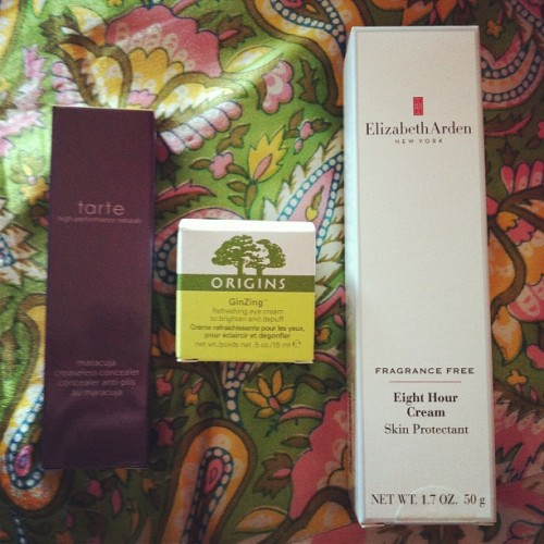 13 august 2012.  tarte concealer in light, origins ginzing eye cream, elizabeth arden eight hour creme.