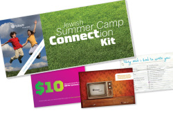 This is BBYO Connect's Jewish Summer Camp Connection Kit. Now campers and parents have no excuse to keep in touch. The kit includes tear-away postcards for parents and campers, as well as a coupon for a BBYO Connect event. And when all the postcards have been torn off, you are left with a mini BBYO Connect brochure!