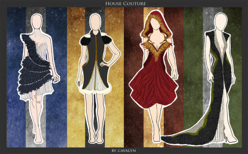 """House Couture was inspired by the four houses of Hogwarts and their animal mascots. Each garment attempts to embody the prominent traits of each house while keeping true to the individual animal inspiration."" -Cavalyn Galano (*DistantDream) Hogwarts House Couture by ~DistantDream"