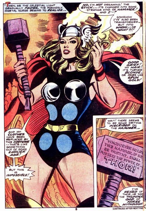 ispanky:  ACTUAL Female!thor An alternative universe in which Jane Foster finds/picks up Mjolnir First! this is Marvels' What if series (earth-788)