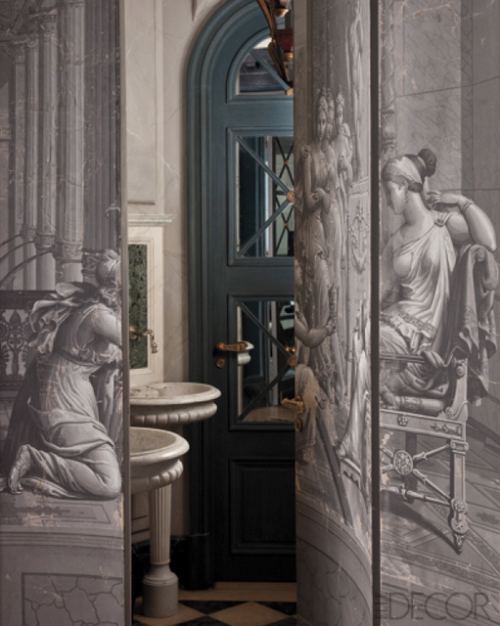 a-l-ancien-regime:  18th-century trompe l'oeil grisaille wallpaper panels - Frédéric Méchiche Elle Decoration France
