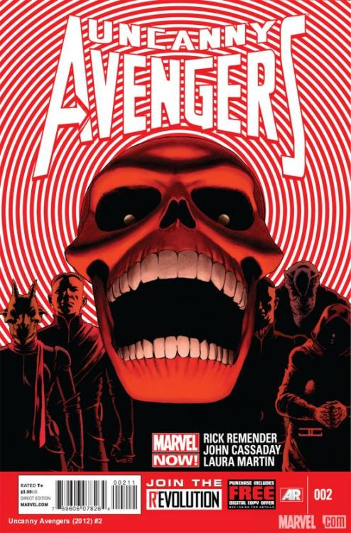 vejigante:  Cover to Uncanny Avengers #2 I wonder who are those guys on Skull's team…  I was reading the solicit for this. I wonder if this is Sin, Johan or another Red Skull. Last time we saw Johan he was a giant Arnim Zola robot body that got destroyed by Sharon Carter, and if this is him I wonder what crazy supervillain trick he did to cheat death.