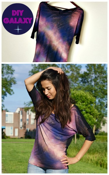 truebluemeandyou:  DIY Galaxy Shirt Tutorial from Beauty Lab here. There is a translator on site. *The only thing I'd be really careful about is leaving the bleach on too long without rinsing. Why? See this post here. *For more galaxy tutorials go here: truebluemeandyou.tumblr.com/tagged/galaxy
