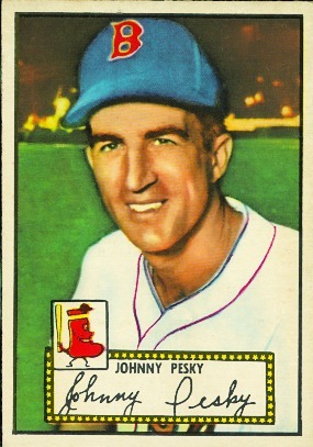 "obitoftheday:  Obit of the Day: Red Sox Legend Johnny Pesky Boston Red Sox shortstop, and the namesake for the most famous foul pole in all of baseball, Johnny Pesky has died at the age of 92. Pesky spent parts of six seasons playing for the Sox, and also with the Detroit Tigers and the Washington Senators. A decent hitter, Pesky finished with a lifetime .307 average, which included three straight seasons of over 200 hits, leading the league each year. (Those seasons were 1942, 1946, and 1947, since Pesky, like most other players of his generation, had his career put on hold by World War II.) Pesky's 1946 season was his best, hitting .335 with 208 hits, and helped lead the Sox to the World Series. He finished 4th in the AL MVP voting that year. (Actually the Red Sox took 3 of the 4 top spots with Ted Williams finishing first and Bobby Doerr finishing third. So much for splitting the vote.) After the 1954 season Pesky retired and returned to the Red Sox in various capacities including bench coach, radio analyst, and unofficial ""ambassador"" for various on-field events. Pesky had his number 6 retired by the team in 2008. Now about that foul pole. According to Pesky, Red Sox pitcher Mel Parnell gave the pole the nickname ""Pesky's Pole"" in 1948 after the shortstop hit a game-winning home run that bounced off the pole giving Parnell the win*. (According to Wikipedia, Pesky never hit a game-winning homer during a Parnell-pitched game.) Although the pole was called ""Pesky's"" for decades the Red Sox didn't make the moniker official until 2006. * That was one of only 17 home runs Pesky hit in his career. Sources: masslive.com, baseball-reference.com, wikipedia.org, and the Boston Red Sox team website (Image of Johnny Pesky's 1952 baseball card is copyright of Topps and courtesy of baseballsimulator.com)"