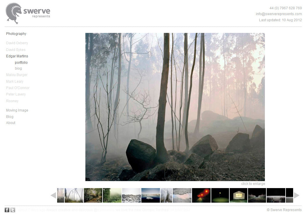 Swerve Represents website (HTML, JavaScript, JQuery)The London-based photographic agency Swerve Represents had a Flash website for many years and wanted to update it to an iPad-compatible HTML version, but retaining the slick feel of the old site, with XML-powered portfolios. I recreated the website using HTML, JQuery and JavaScript, adding the extra functionality of finger swiping for the thumbnail strip on the iPad. There are a number of advantages over the old Flash website such as persistent URLs for each portfolio and full-screen enlarging of images using the Fancybox plug-in. Best of all, the Moving Image section is vastly improved with videos hosted on Vimeo to allow maximum compatibility and full-screen viewing for the first time. swerverepresents.com