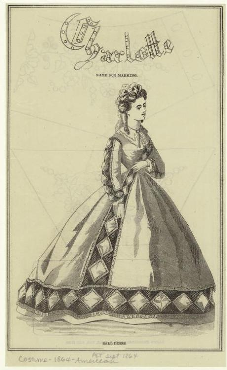 "southcarolinadove:  oldrags:  Ballgown, 1864 US, Peterson's Magazine It says it's a ""ball dress"", but it looks way too casual to have been worn at a standard ball.  Anyone know what that's all about?  This dress could be considered a formal gown for an older lady, but actually, the probable main reason it was labeled as 'ball gown' was because this same dress was also featured in a colored fashion plate in Godeys magazine in September 1864, as a day dress I believe, Petersons and Godeys frequently copied fashion plates from Europe, but usually with a year or two delay because fashion trends had to slowly cross the ocean and of course that took a while, we'll sometimes to protect themselves from total copyright infringement, they would change the color, or details, or purposes of the dresses they so obviously copied, for the same dress to appear in both of the popular ladies magazine so close together time wise was because once the publishers got their hands on the European fashion plates, they went straight redoing them for their own magazines, so in short, maybe it's labeled ball gown because they were trying to steal the imagine but make it their own by calling it a ball gown, maybe they got word that Godeys planned to publish the dress too and if they knew Godeys planned to call it a day dress, they had to change it to ball gown, the dress is so pretty they would have wanted to feature it in their magazine so changing it's purpose would be worth it, on a more personal note, I plan to make a ball gown version of this dress one day, I've been in love with it for a while, I just got to plan the design and find the right fabric and motivation, lol  Old post, but this is an interesting response."