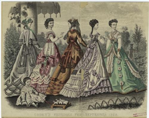 September fashions for women and young children, 1868 US, Godey's Lady's Book