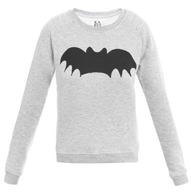 DIY Inspiration: $123 Zoe Karssen Bat Print Sweater here. I've seen this on several fashion sites like FASHnCHIPS here. How easy would this be to do with either fabric and fusible material or even the t-shirt iron on transfers here (no affiliate link)? For lots of different bat templates go to google here or here.