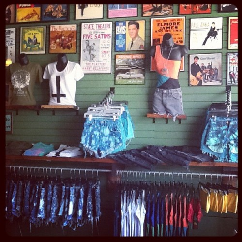 New wall display, more new shorts! #fashion #oldefieldsclothing #tallahassee #shortshorts  (Taken with Instagram)