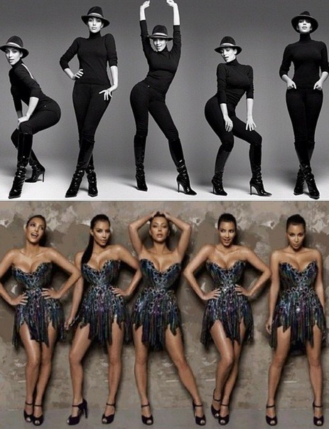 Is Kim Kardashian fiece or channeling Sasha Fierce? Looking at a new photo shoot we can't help but notice that Kim Kardashian seems to have borrowed a look or two from Beyonce, who happens to be married to Jay-Z who is best friends with her current boyfriend Kanye West.  The black and white photo shows Kim in different poses in all black with black boots and a fedora while the second photo shows the Keeping Up with the Kardashians star in a beautiful glittering dress, which echos a similar dress Beyonce wore after the birth of daughter Blue Ivy.