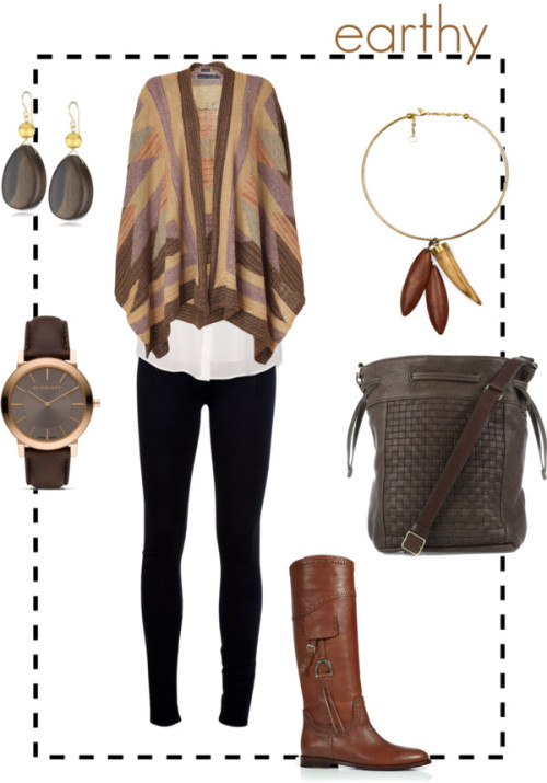earthy by sparlingo featuring wooden jewelry A bit of my style. It's a bit strange trying to figure out how to flatter this body shape that's completely foreign to me. I think a good starting point would be to find things that A) are completely comfortable, and B) make me feel confident. I believe this outfit would do both those things for me.
