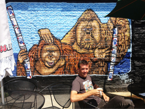 Broken Crow mural at Grumpy's Downtown Mpls. And my friend Brian. Mugshot Monday from this day is here.