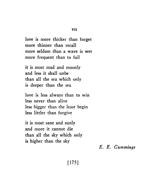 "poetrysince1912:  —E.E. Cummings, Poetry, January 1939Cummings won Poetry's Levinson Prize in 1939 for his poem ""[love is more thicker than forget]"". We've just announced the winners of the 2012 Prizes for Contributors to Poetry. Take a look."