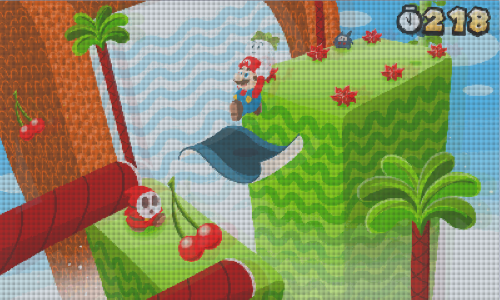 tinycartridge:  The next Super Mario 3D Land could look like this, if Nintendo modeled it after the quirky second game in the original NES series. That's unlikely, but if Super Mario Bros. 2 taught us anything, it's that a fellow can dream! This mock-up comes from @pokecapn, and is based on the clean version Bill Mudron illustrated without all the 3DS screen's quirks (e.g. ghosting, lines, etc.) Buy: Super Mario 3D Land, New Super Mario Bros. 2 See also: More Super Mario 3D Land stuff [Via @mudron]