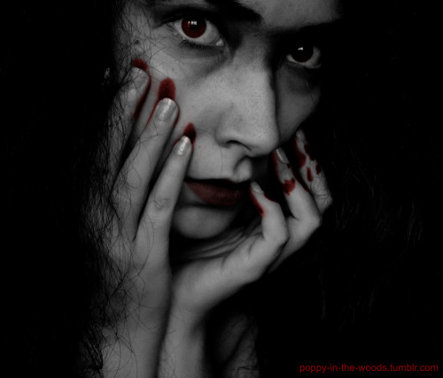 Vampire Me, from the Blood & Dirt series. Version in Black & White & Red. Model, photo and post-procesing by Me.