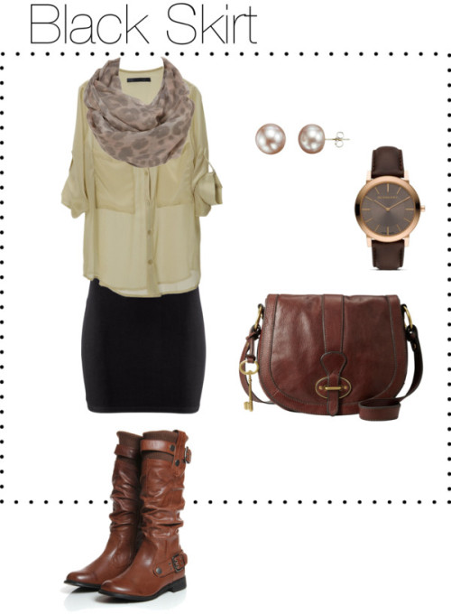 Black Skirt by sparlingo featuring fossil handbags