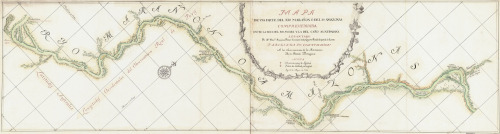 willigula:  By the time this elegant map of a section of the Amazon River was made in 1788, most of the larger rivers had been explored and charted. But as this map demonstrates, the areas between the rivers were still an undiscovered country hundreds of years after Orellana's journey.