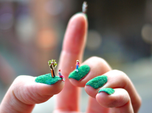 We thought nail art had reached its limit…then we saw this lawn-inspired manicure, complete with miniature people. This takes DIY to a whole new level.