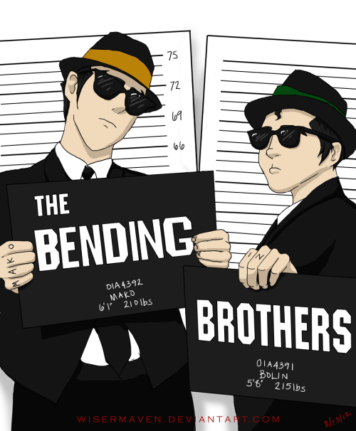 wisermaven:  So, I had this headcanon to do a Blues Brothers/Korra crossover Thus, the Bender Bros were born!