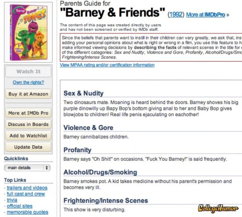 Parental Advisory for Barney and Friends I guess I stopped watching Barney before the good episodes.  via