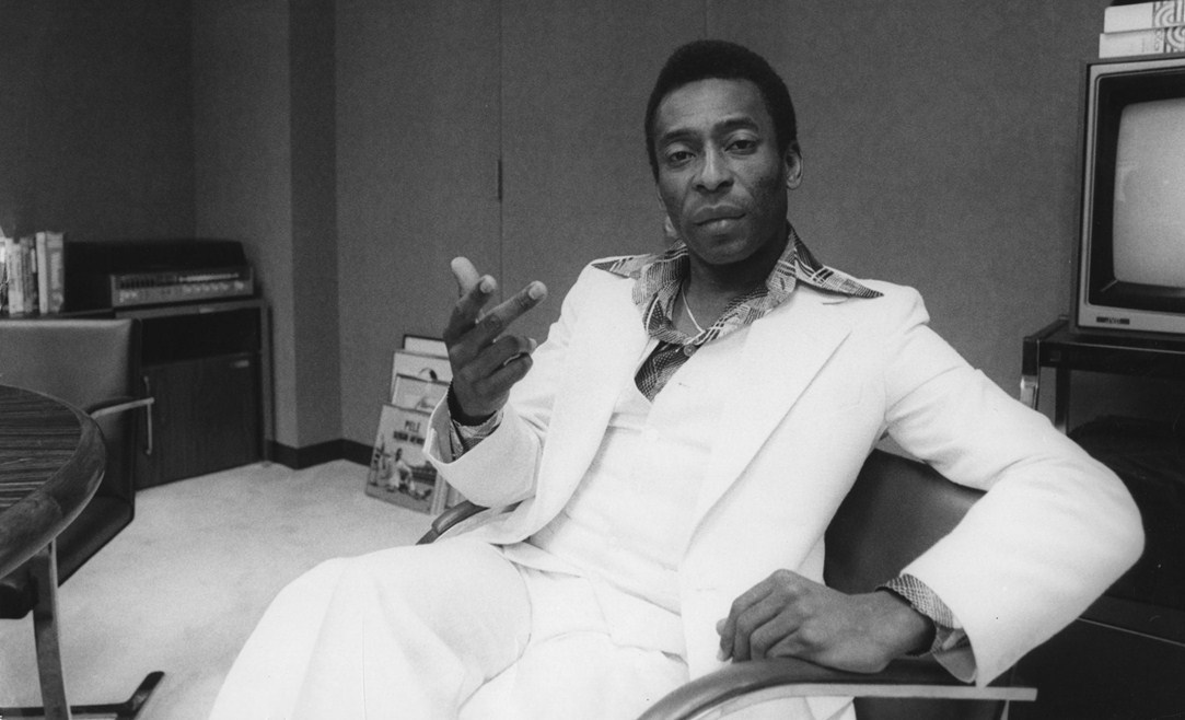 Pele suited up in white, New York City 1978. Source: British GQ