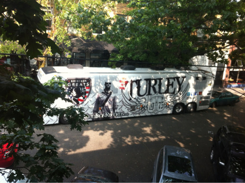 Look at this bro-ass tour bus that is parked across from my window.