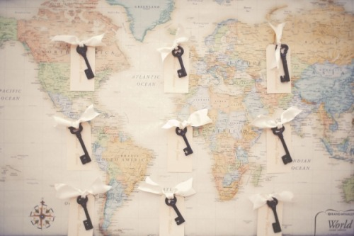skeleton key escort cards attached to a map