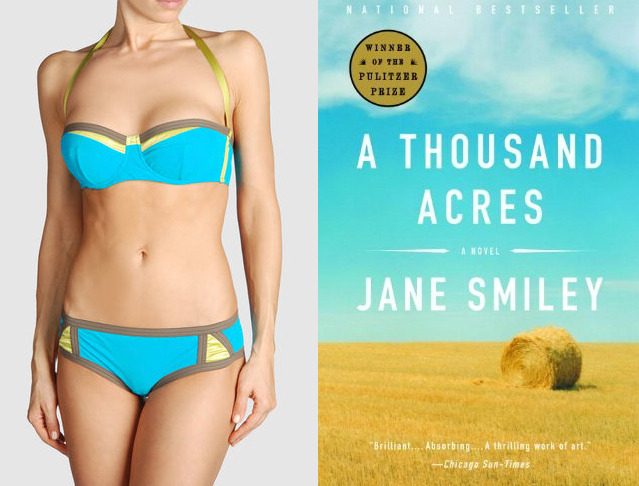 The book: A Thousand Acres by Jane Smiley The first sentence: At sixty miles per hour, you could pass our farm in a minute, on County Road 686, which ran due north into the T intersection at Cabot Street Road. The bikini: Antonio Marras il Mare Bikini