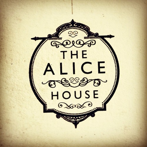 The Alice House logo @London. #design #london #beauty #ornaments #typography #b&w #circular #elegant #flourish #simplicity  (Taken with Instagram)