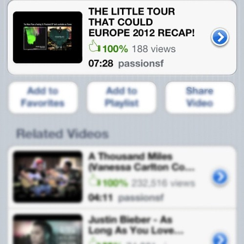 New Video on my YouTube page! Check it out! It's a must watch!! #TheLittleTourThatCould Europe 2012 Recap! (Taken with Instagram)