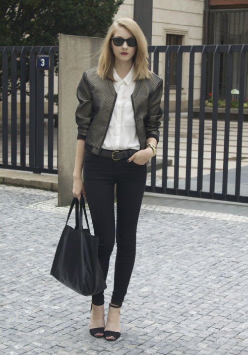 streetstyled:  Get the look: shirt , bracelets - H & M / jacket - H & M Trend / jeans - TopShop / shoes - Zara / bag - CELINE / watch - MICHAEL KORS