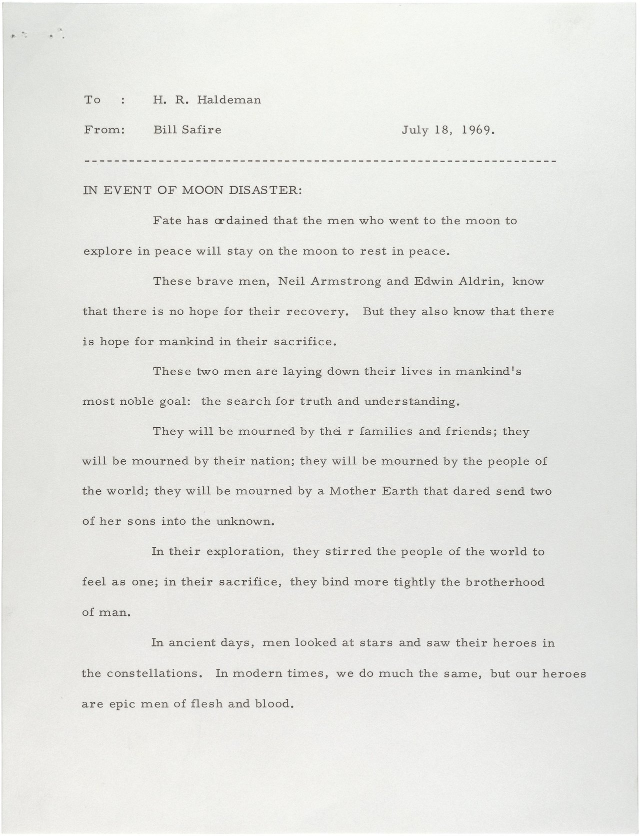 robsheridan:  A statement prepared for President Nixon to read in the event that Neil Armstrong and Buzz Aldrin became stranded on the moon.