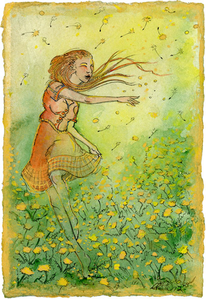 Dancing through Dandelionswatercolor and pen 4x6in, gold never scans well, but the darker yellow is gold paint.reference used