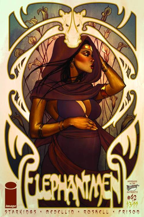 Market Monday Elephantmen #42, cover by Jenny Frison  'SLEEPING PARTNERS,' Part One: Sahara is pregnant, Panya is pregnant… and their lives are at risk.