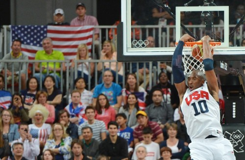 USA 156 - NIGERIA 73 (August 2, 2012) Kobe Bryant, Team USA [Image Source: NBC Olympics; Photographer: Mark Ralston/Getty Images; Box Score]