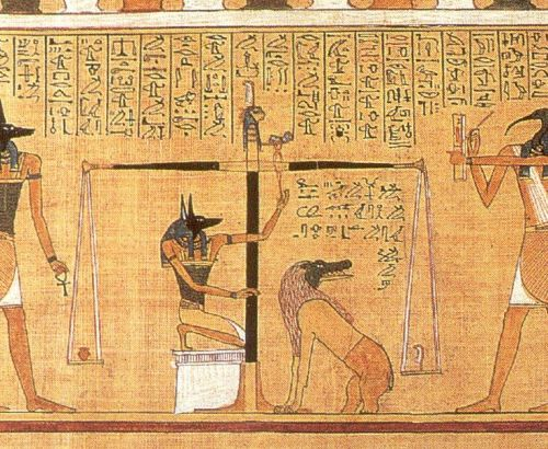 Anubis weighing the heart of Hunefer.