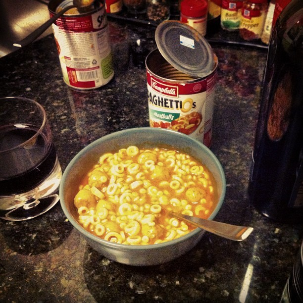 Keith came over to drink wine, eat SpaghettiOs, and watch Cruel Intentions. #thisiswhywerefriends @keithstewart  (Taken with Instagram)