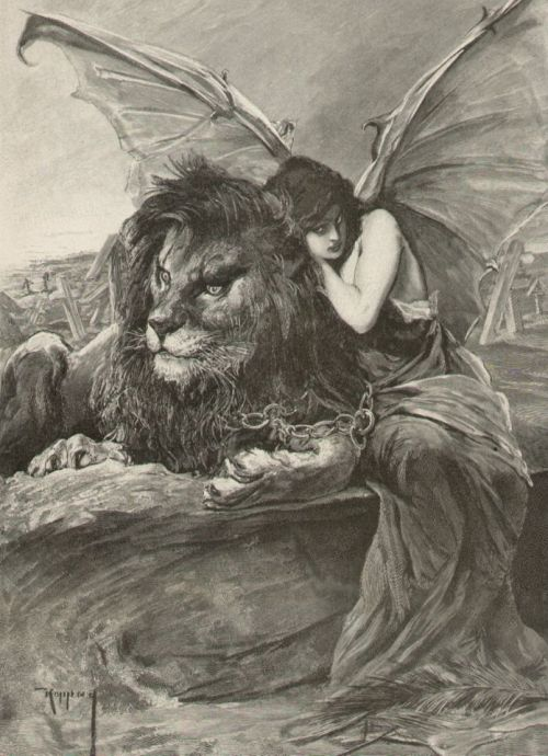 necroluste:   Jószef Arpád Koppay, Lion and Woman with Devil Bat Wings Chained Together.