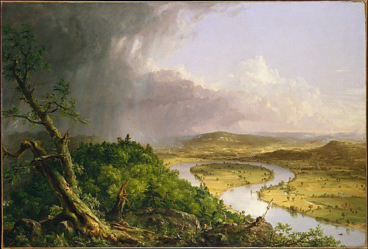 View from Mount Holyoke, Northampton, Massachusetts, after a Thunderstorm—The Oxbow, 1836Thomas Cole (American, 1801–1848)Oil on canvas  I originally saw this painting in my AP US History textbook in high school and after that year was over I forgot the title and I have been searching for this painting for about  6-7 years, and it just showed up today on the Met's facebook page. I couldn't believe that it just fell into my lap like this.  I would love to own a giclee of this one day